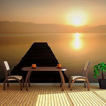 Fotobehang XXL - jetty, lake, sunset...