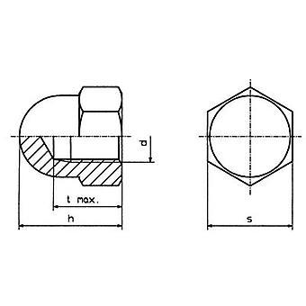 TOOLCRAFT M5 D1587-STAHL:A2K 194788 Hex Hutmutter M5 DIN 1587 Stahl Zink vernickelt 10 PC