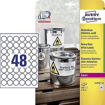Avery-Zweckform L4716-20 Labels Ø 30 mm Polyester film White 960 pc(s) Permanent Weatherproof labels, Sticky dots