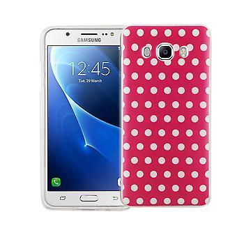 Mobiltelefon tilfældet for Samsung Galaxy J5 2016 dækning case beskyttende taske motiv slim silikone TPU polka dot pink