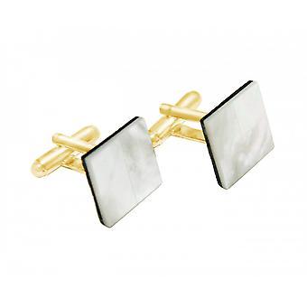 Herren - Manschettenknöpfe – Vergoldet – Perlmutt – Weiß – 16 mm