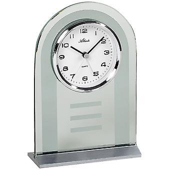 Atlanta 3123 style clock clock quartz silver glass with wake-up function