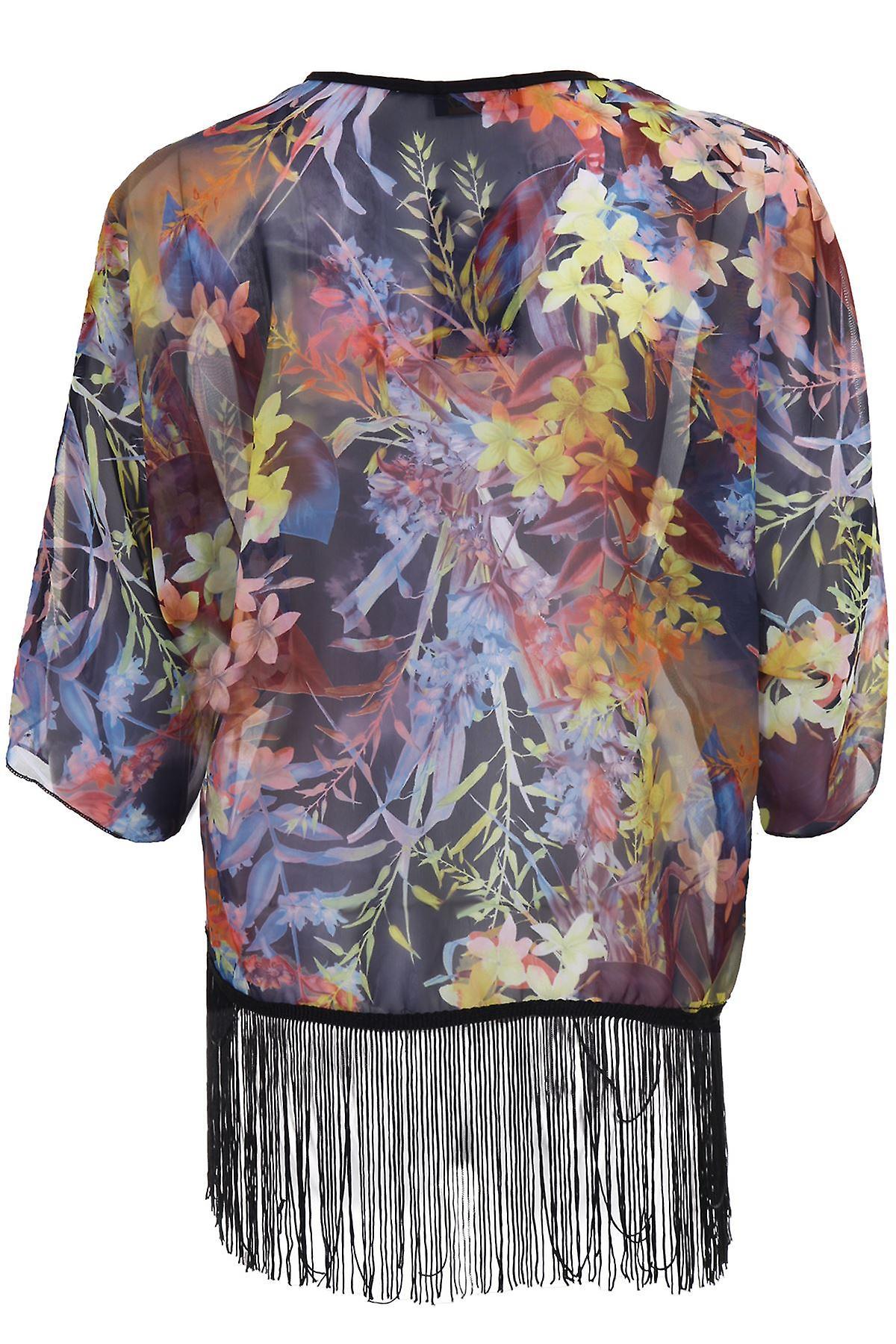 Naisten 3/4 hiha avointen edessä kukka tulostaa Sifonki läpikuultava naisten Kimono