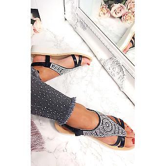 IKRUSH Womens Chloe Diamante verfraaid sandalen