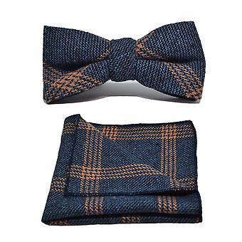 Denim Blue & Orange Birdseye Check Bow Tie & Pocket Square Set