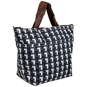 TRIXES Black & White Grid Patterned Lunch Picnic Cooler Bag Insulated Carry Tote