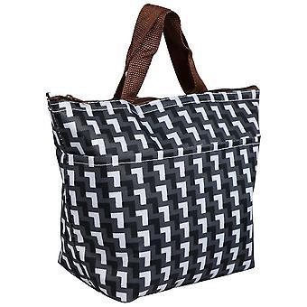 TRIXES schwarz & White Grid gemusterten Mittagessen Picknick Kühltasche isoliert Carry Tasche