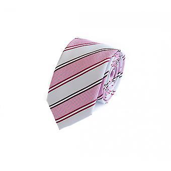 Tie tie tie tie 6cm pink white red striped Fabio Farini