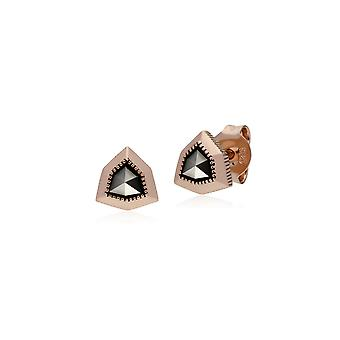 Rose Gold Plated Shield Marcasite Stud Earrings in 925 Sterling Silver 224E022501925