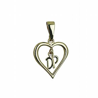 9ct Gold 18x18mm heart Pendant with hanging Initials DP Pendant with bail