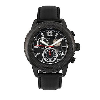 Morphic M51 Series Chronograph Leather-Band Watch w/Date - Black