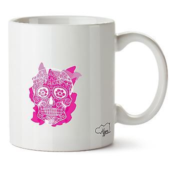 Hippowarehouse Pink Sugar Skull Printed Mug Cup Ceramic 10oz