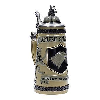 Game of Thrones Bierseidel Haus Stark Winter is Coming naturfarben/schwarz, aus Steingut, in Geschenkbox, Fassungsvermögen ca. 500 ml..