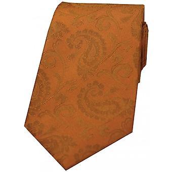Дэвид ван Хаген роскошь Пейсли шелковый галстук - сожжены оранжевый