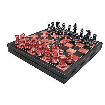 Red & Black Alabaster Chest Chess Set