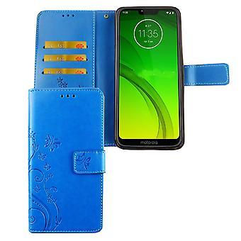Motorola Moto G7 Telefon fall skyddsfodral täcka Flip case kort fack blå