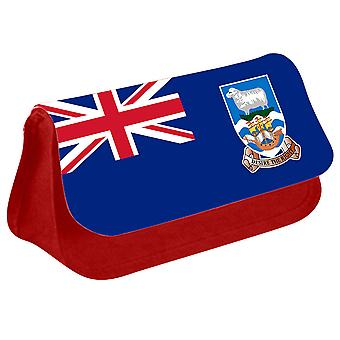 Falkland Islands Flag Printed Design Pencil Case for Stationary/Cosmetic - 0210 (Red) by i-Tronixs