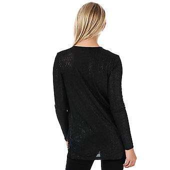 Womens Vero Moda Mandy Long Sleeve Glitter Wrap Top In Black / Silver