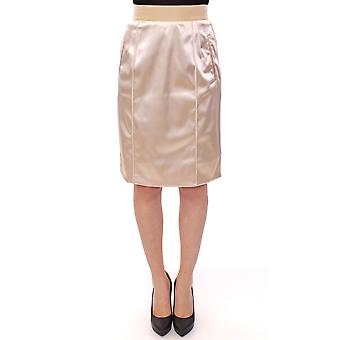 Beige silk above knees pencil skirt