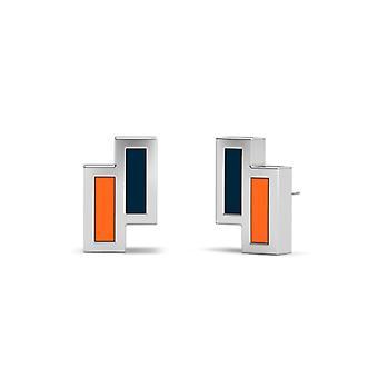 California State U-Fullerton Sterling Silber asymmetrische Emaille Ohrstecker in blau und Orange