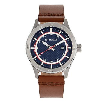 Rotu mekaanikko nahka-Band Watch w/Date-Navy