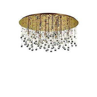 15 Light Extra Large Semi Flush Ceiling Pendant Gold