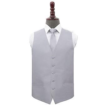 Silver Plain Shantung Wedding Waistcoat & Tie Set