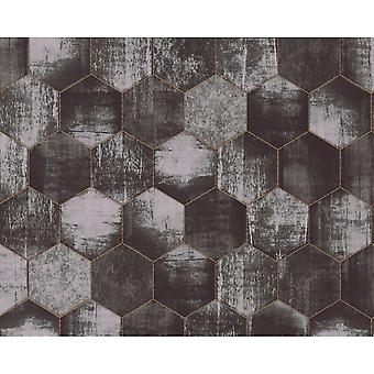 A.S. Creation As Creation Metallic Honeycomb Contemporary Geometric Shimmer Wallpaper 363304