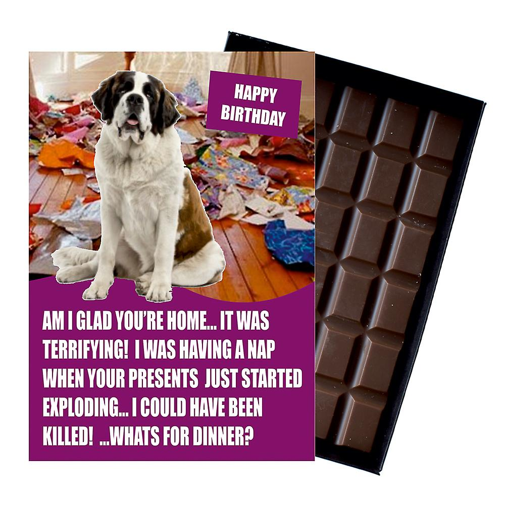 Saint St Bernard Funny Birthday Gifts For Dog Lover Boxed Chocolate Greeting Card Present