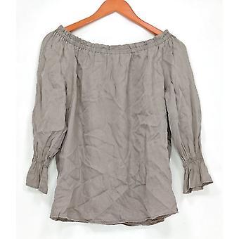 Du Jour Women's Top Off the Shoulder Denim Knit Gray A293764