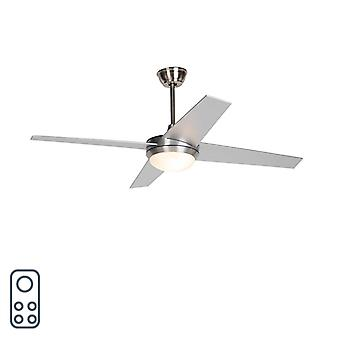 QAZQA Ceiling fan silver with remote control - Roar 52