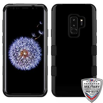 MYBAT Jet Black/Black TUFF Hybrid Phone Protector Cover for Galaxy S9 Plus