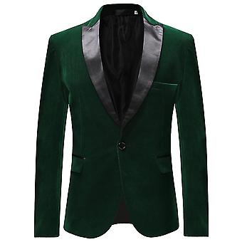 Allthemen Men's Velvet Peak Lapel Banquet Party Suit Jacket