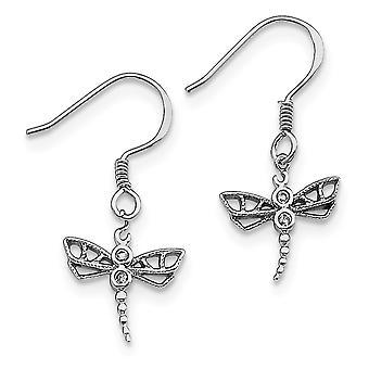 925 plata esterlina colgante pulido pastor gancho rodiado CZ Cubic Zirconia simulado diamante Dragonfly Pendientes