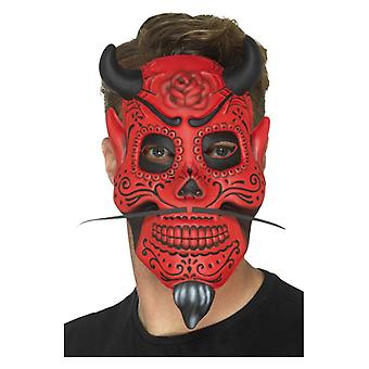 Mens Day of the Dead Devil Mask Halloween Fancy Dress Accessory