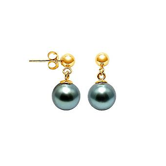 Earrings of Women Hanging Pearls of Tahiti 8 mm and yellow gold 750/1000