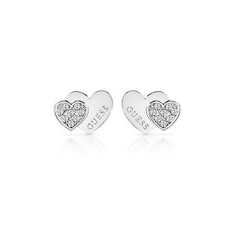 Guess Jewellery Guess Rhodium Plated Double Heart Stud Earrings UBE84118