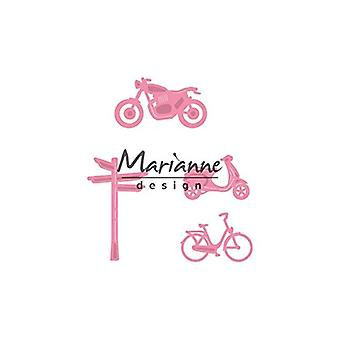 Marianne Design Collectables Village Dec Set 4 (Bicycle) Die, Metal, Pink, 17.2 x 14.3 x 0.2 cm