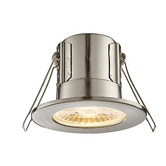 Saxby Lighting Shieldeco Fire Rated Integrated LED Bathroom Recessed Light Satin Nickel Plate, Acrylic IP65 73787