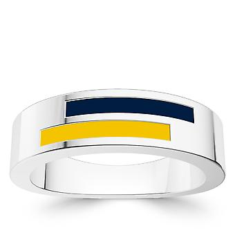 University Of Michigan Sterling Silver Asymmetric Enamel Ring In Blue and Yellow