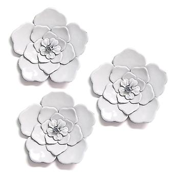 Alluring White Metal Wall Flowers