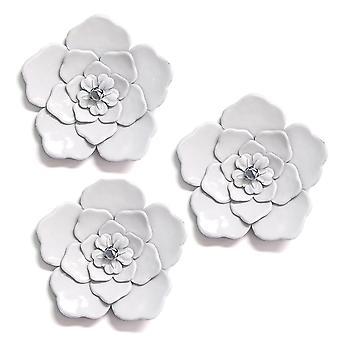 Dragende hvid metal væg blomster