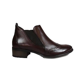 Paul Green 7358-33 Wine Leather Womens Pull On Brogue Ankle Boots