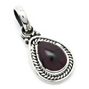 Amuleto de caneta corrente prata 925 Sterling Silver Garnet Red Stone (Não: MAH 147-02)