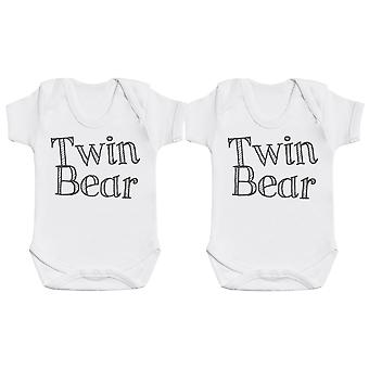 Twin Bear Baby Bodysuit Twin Set