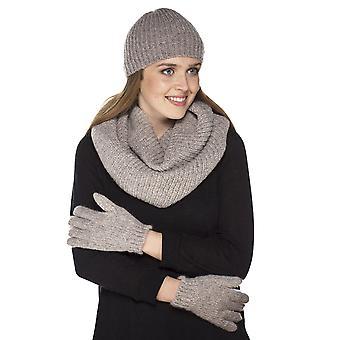 Damer Chunky strikket mode vinter sæt Pom Pom Beanie Hat, handsker & forfang