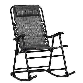Outsunny Garden Rocking Chair Folding Outdoor Adjustable Rocker Zero-Gravity Seat with Headrest Camping Fishing Patio Deck - Grey