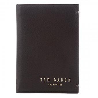 Ted Baker Zacks nahka pieni bi-fold kortti lompakko suklaa ruskea