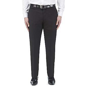 Skopes Mens Madrid Big Tall Tailored Fit Flat Front Formal Suit Trousers - Black