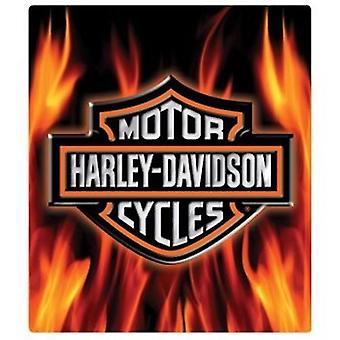 Harley davidson flame logo die cut embossed tin sign